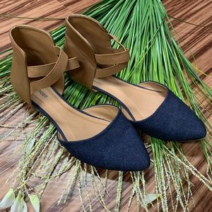 Maurices Pointed Toe Flats Denim & Camel, Size 8.5